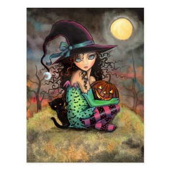 Halloween Witch Black Cat and Jack-O-Lantern Postcard