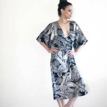 Vintage Kimono Dress , Kaffe Denmark , Black and Silver , 1990s , Midi Dress , Mid cuff Dress , Size M, 38