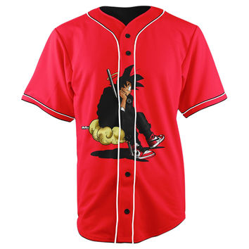 Fresh Goku Dragon Ball Z Red Button Up Baseball Jersey