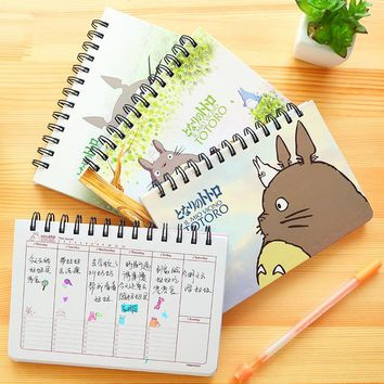 Cartoon Totoro Weekly plan Spiral notebook Agenda for week Schedule organizer planner Cuadernos office School supplies