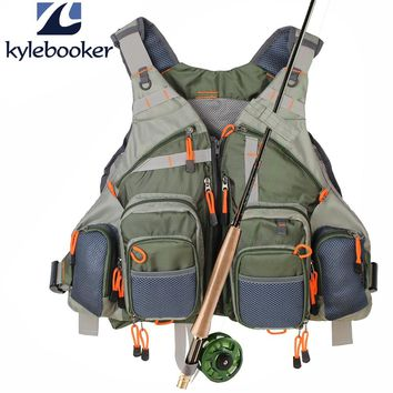 New Men's Army Green Fly Fishing Vest Adjustable Outdoor Hunting clothes Mesh Vest  Fishing Vest  Fishing gear bag