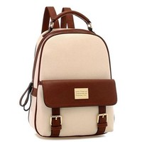 Your Gallery Retro Student Faux Leather Schoolbag Shoulder Bag Travel Preppy Rucksack, beige