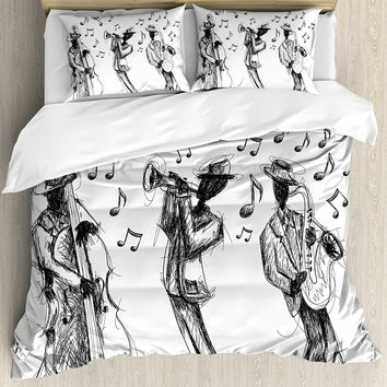 Jazz Music Decor Duvet Cover Set Sketch Style of a Jazz Band Playing Music with Instruments and Musical Notes 4 Pcs Bedding Set