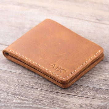 Personalized  Men's Leather wallet -  Bifold Men's Handmade Leather Wallet  - Credit card wallet - Gift for men