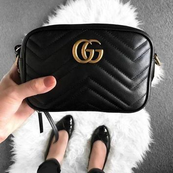 DCCKR2 Gucci Stylish Women Shopping GG Logo Leather Metal Chain Crossbody Satchel Shoulder Bag Black I