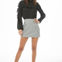 Ruffle-Trim Mock Neck Top