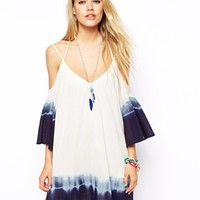 ASOS Sundress With Cold Shoulder And Dip Dye