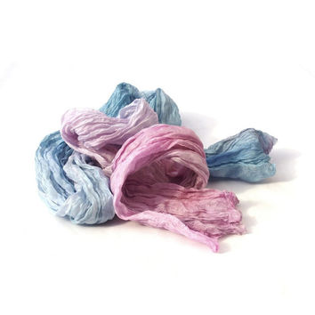 Pastels silk scarf ombre colour Pink & Blue fashion long crinkle, for women, something blue