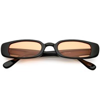 Extreme Thin Small Lens Rectangle Sunglasses Color Tinted 49mm