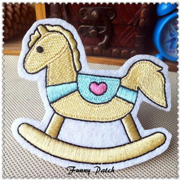 Wooden Horse Kids Iron on Patch 305-H