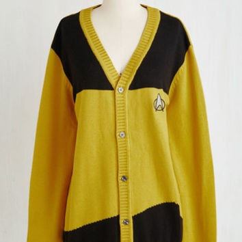 Sci-fi Long Set Phasers to Stunning Cardigan in Goldenrod