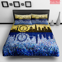 Mosaic Art Silhouette London Skyline Bedding Sets Home & Living Wedding Gifts Wedding Idea Twin Full Queen King Quilt Cover Duvet Cover Flat Sheet Pillowcase Pillow Cover 051