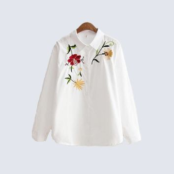 New White Flower Embroidery Women Blouse Turn Down Collar Button Down Blouse Shirt Long Sleeve Casual Cotton Shirt Women Tops