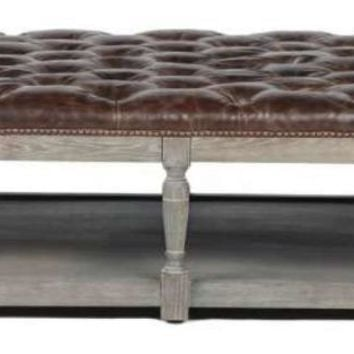 Thomas Leather Tufted Coffee Ottoman