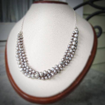 Freshwater pearl beaded necklace Chunky pearl necklace Silver grey pearl necklace Unique handmade jewelry Silver and pearl jewelry gift