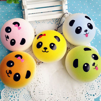 4CM Cute Colorful Panda Squishy Soft Buns Bread Key Chain Phone Straps 1PCS