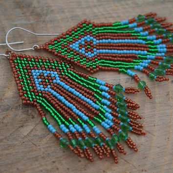 CHANDELIER EARRINGS victorian  DANGLE earrings statement  long seed beads beaded fringe copper green blue native fringe diamond earrings