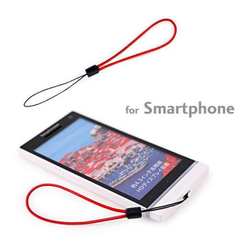Slim Genuine Leather Finger Cell Phone Strap (Red)