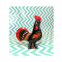 "Vintage Dala Rooster with label Akta Dalahemslojd G.A. Olsson 6.5 "" chicken painted wood black lacquer swedish sweden scandanavian original"