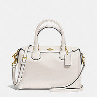 New Authentic Coach F57521 Mini Bennett Satchel Shoulder Bag Crossgrain leather in Chalk White