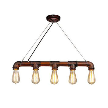 LNC Pipe Pendant Lighting, Industrial Lamp 5-light for Kitchen Island Light Fixtures