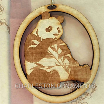 Engraved Wooden Custom PANDA Ornament FREE PERSONALIZATION, Panda Christmas Ornament, Panda Gift Topper