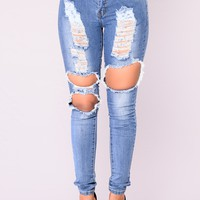 Bold Statement  Skinny Jeans - Medium Denim