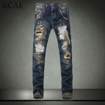 New Fashion Men`s Distressed Jeans With Holes Acid Washed Vintage Casual Denim Pants Ripped Patch Jeans For Men Size 28-40