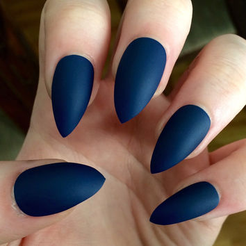 Matte nails, stiletto nails, navy blue, from nailsbykate on Etsy
