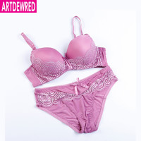 ARTDEWRED Brand ABC Sexy Lace Smoot Patchwork Women Push Up Bra Sets High Quality Bra And Panty French Intimate Underwear Set