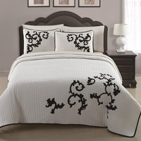 3-piece Ivory Black Embroidered Quilted Coverlet Bedspread Set Queen Size