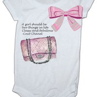 Chanel Purse Inspired baby Onesuit