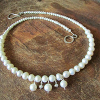 Fresh Pearls Necklace, Gemstone Beaded Brides Bridesmaids Jewelry, Elegant Jewellery