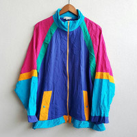 Vintage 80's Richard Simmons Designer Cross Colour Jacket Polyster Zipper Usa Made Talon Hip Hop Jacket Swag Size XL
