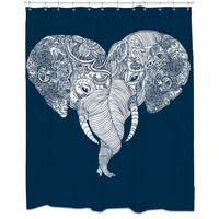 Punch Trunk Love, Elephant, Heart, Shower Curtain, Hooks Included