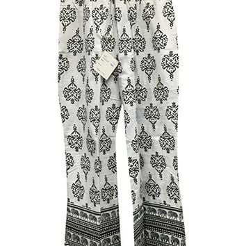 Mogul Womens Cotton Palazzo Pajamas White Printed Gypsy Wide leg Lounge Pant