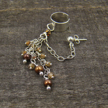 Ear cuff, chocolate pearl dangles and piercing, sparkling topaz glass
