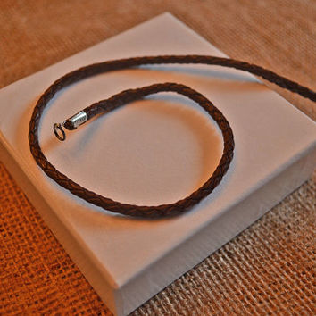 Brown Braided Leather Cord Necklace