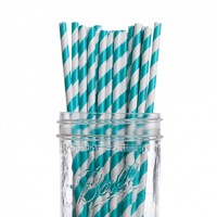 Vintage Paper Drinking Straws - Aqua Striped Paper Straws (25/Pack) [DMC7617] : Wholesale Wedding Supplies, Discount Wedding Favors, Party Favors, and Bulk Event Supplies
