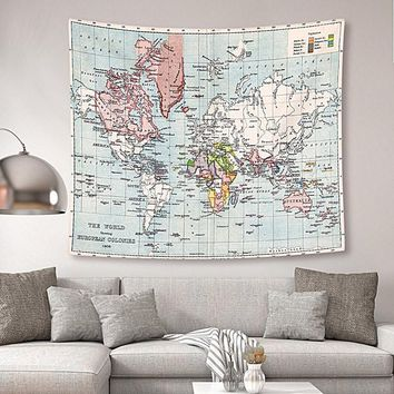 Detailed World Map Boho Fabric Wall Tapestry