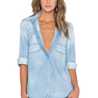 7 For All Mankind 3/4 Sleeve Cuff Boyfriend Shirt in Bleached Light Blue