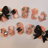 Kawaii Nude CC bling Nails full false/fake 3D nail glam lolita gyaru