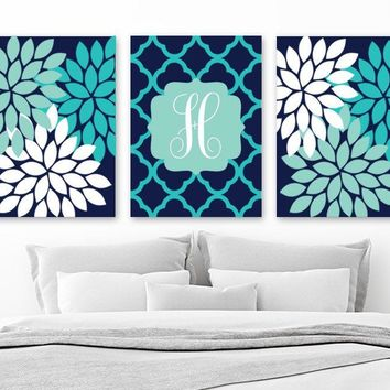 Monogram Flower Wall Art, Navy Turquoise Girl Teen Monogram Bedroom Wall Decor, CANVAS or Print Navy AQUA Turquoise Bathroom Decor, Set of 3