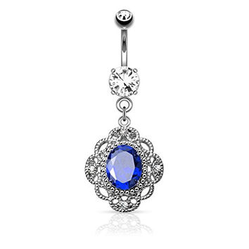 Oval CZ Floral Filigree Vintage Design Dangle Belly Button Ring 316L 14g Navel Ring (Blue CZ)