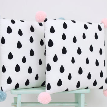 Decorative pillow with Pom Poms, monochrome kids pillows, nursery decor, baby bedding, Rain Drop Pillow, nordic decor, children pillow.