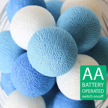 20 Ocean Blue Cotton Ball LED String Lights AA Battery Operated, Bedroom, Night Light, Wedding, Patio Party, Fairy, Lanterns