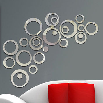 24Pcs Circles Wall Stickers Mirror Style Removable Decal Vinyl Art  Mural