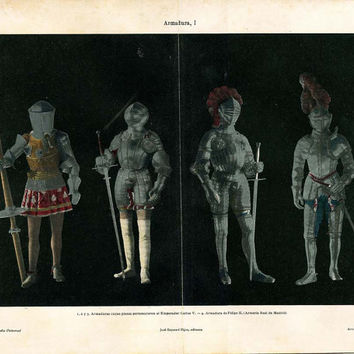 Knight Armors  Vintage Print 1920s, Medieval Armors, Black and Silver