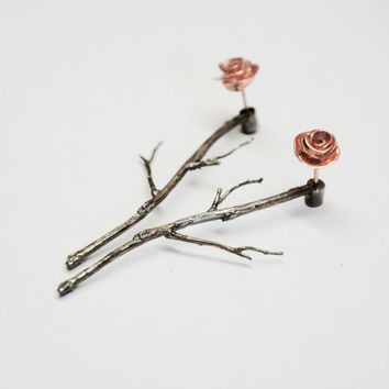 silver earjackets, rose gold ear jacket, branches earrings, earring jackets, front back earrings, rose studs, silver earjacket, gift for her