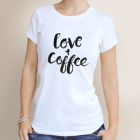 Love and Coffee, Basic UNISEX Adult T-Shirt. Size MEDIUM.
